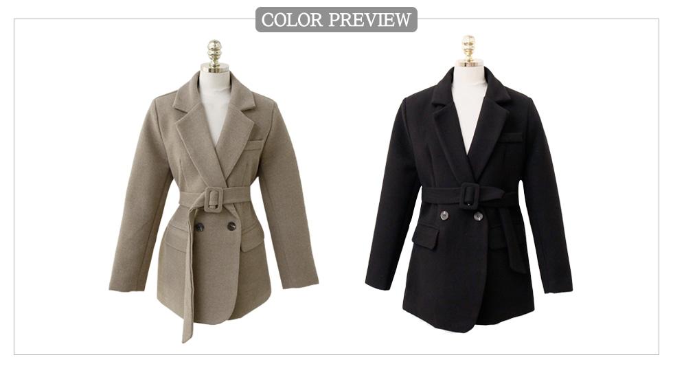 翻领腰带加厚西装夹克