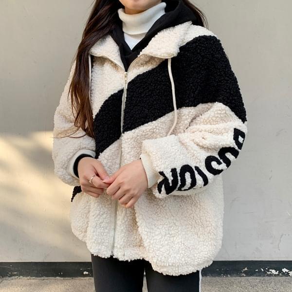 Boston color wool zip up