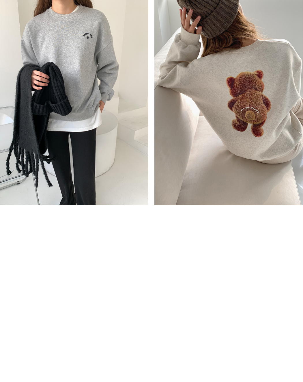 'HUG BEAR' printing Sweatshirt