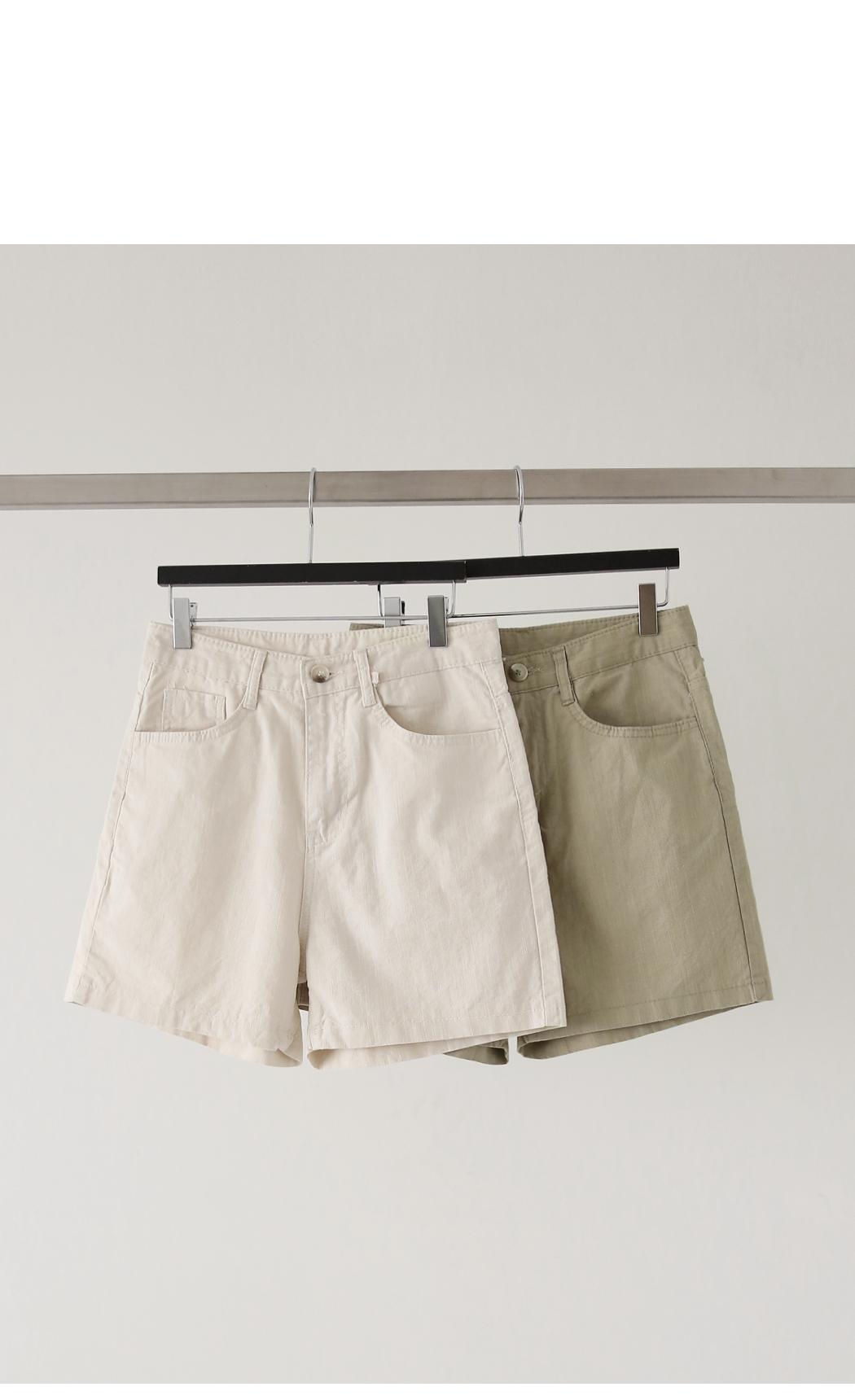 Linen-like cotton shorts