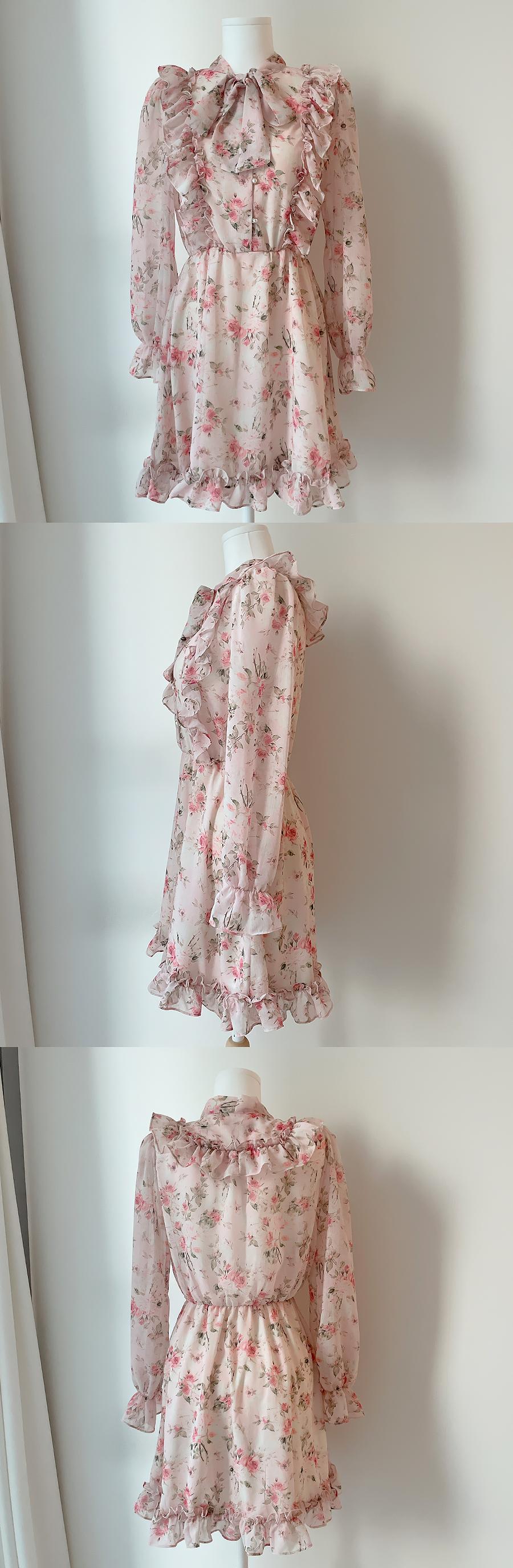 Celine floral tie dress 2color