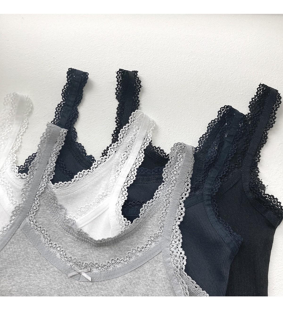 Lace Ribbed sleeveless