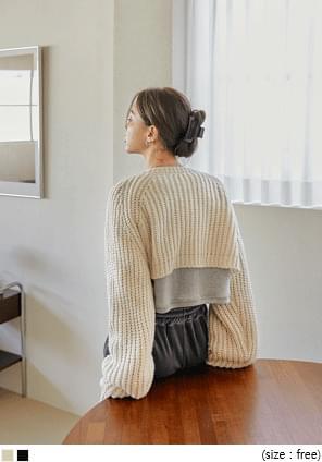 拉克蘭袖短版開襟針織外套
