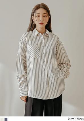 條紋單口袋開衩襬襯衫