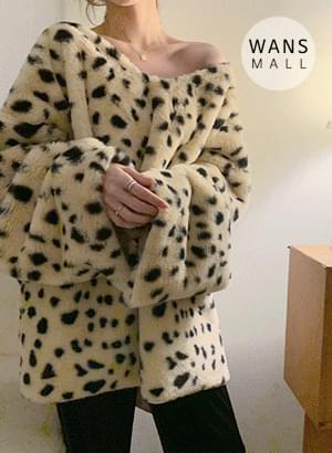 kn3522 leopard v-neck fur knit 針織衫