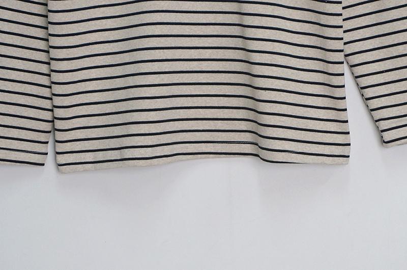 Chocolate Half Turtleneck Striped Long Sleeve Tee