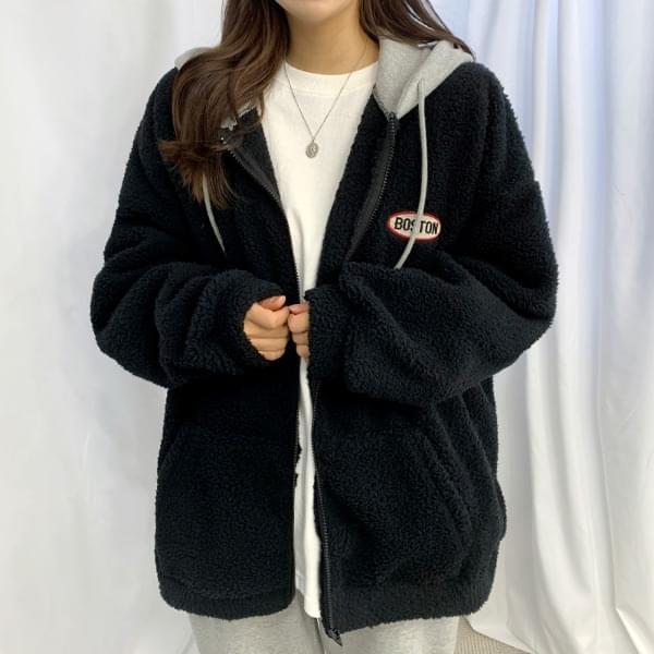 Boston Wool Color Hoodie Zip Up