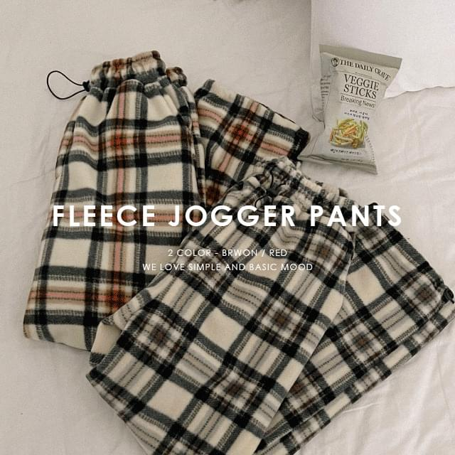 Fleece check jogger pants (Delayed delivery)