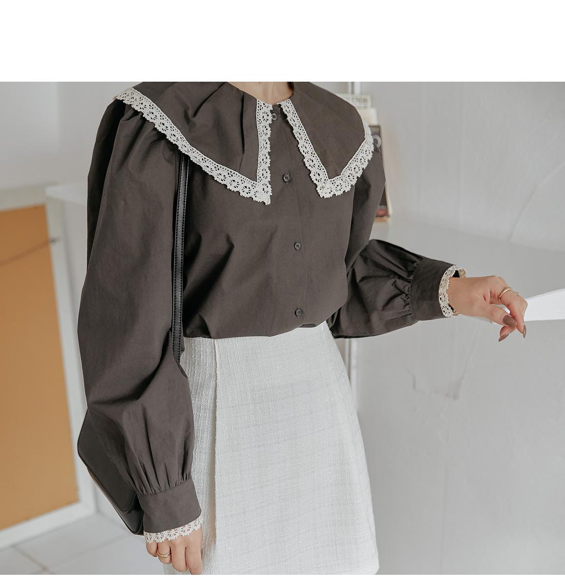 Lace Trim Pilgrim Collar Blouse