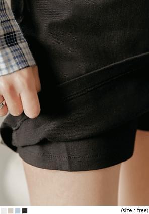 韓國空運 - 附腰帶後鬆緊腰A字褲裙 裙子