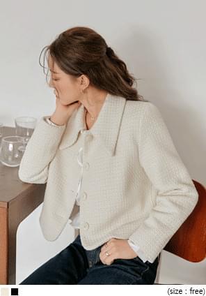 羊毛混紡尖領花呢外套