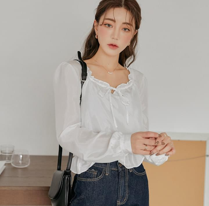 Frill Trim Flared Hem Satiny Blouse