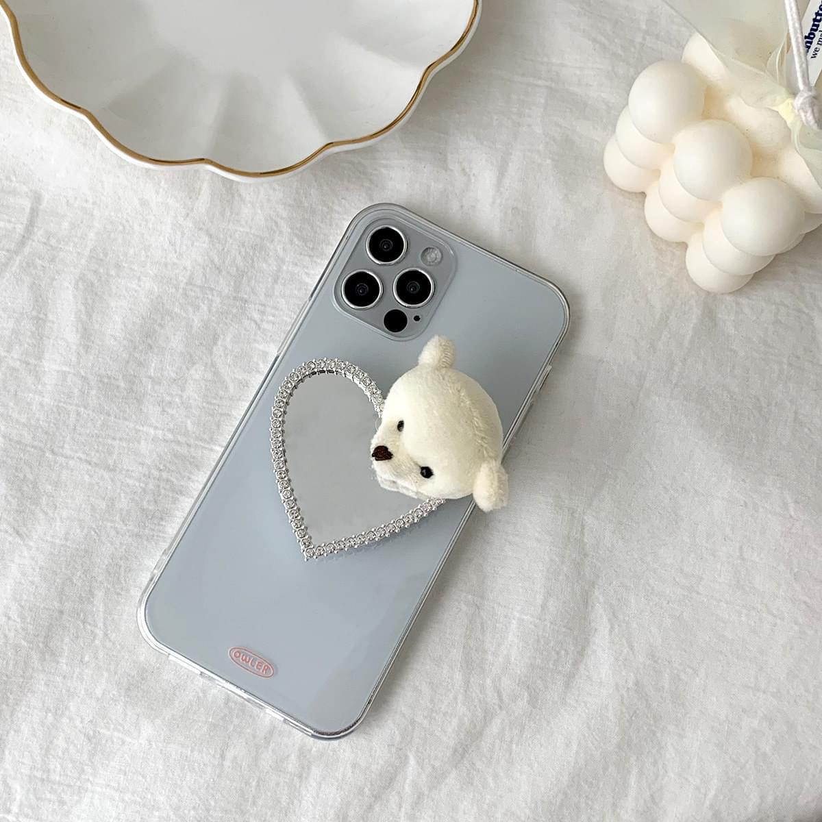 Cookie Bear Heart Mirror Grip Talk 手機殼