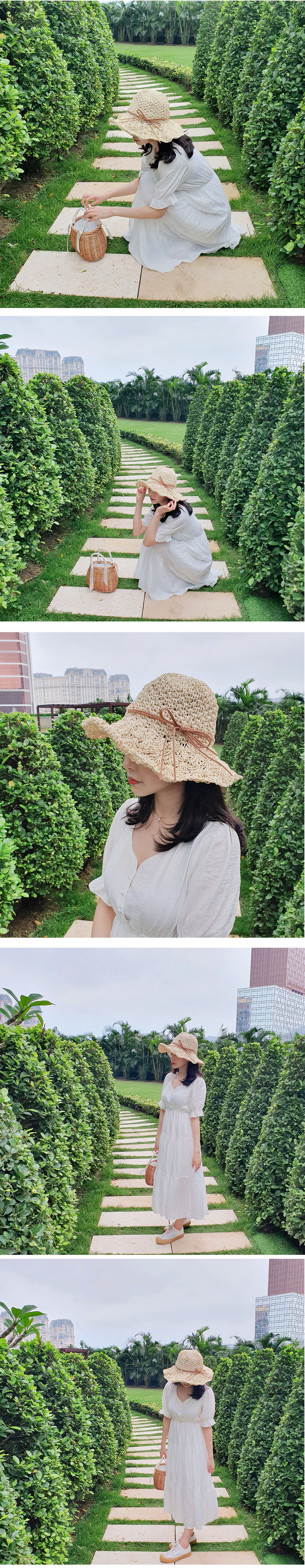 Straw ribbon vacation hat H#YW007