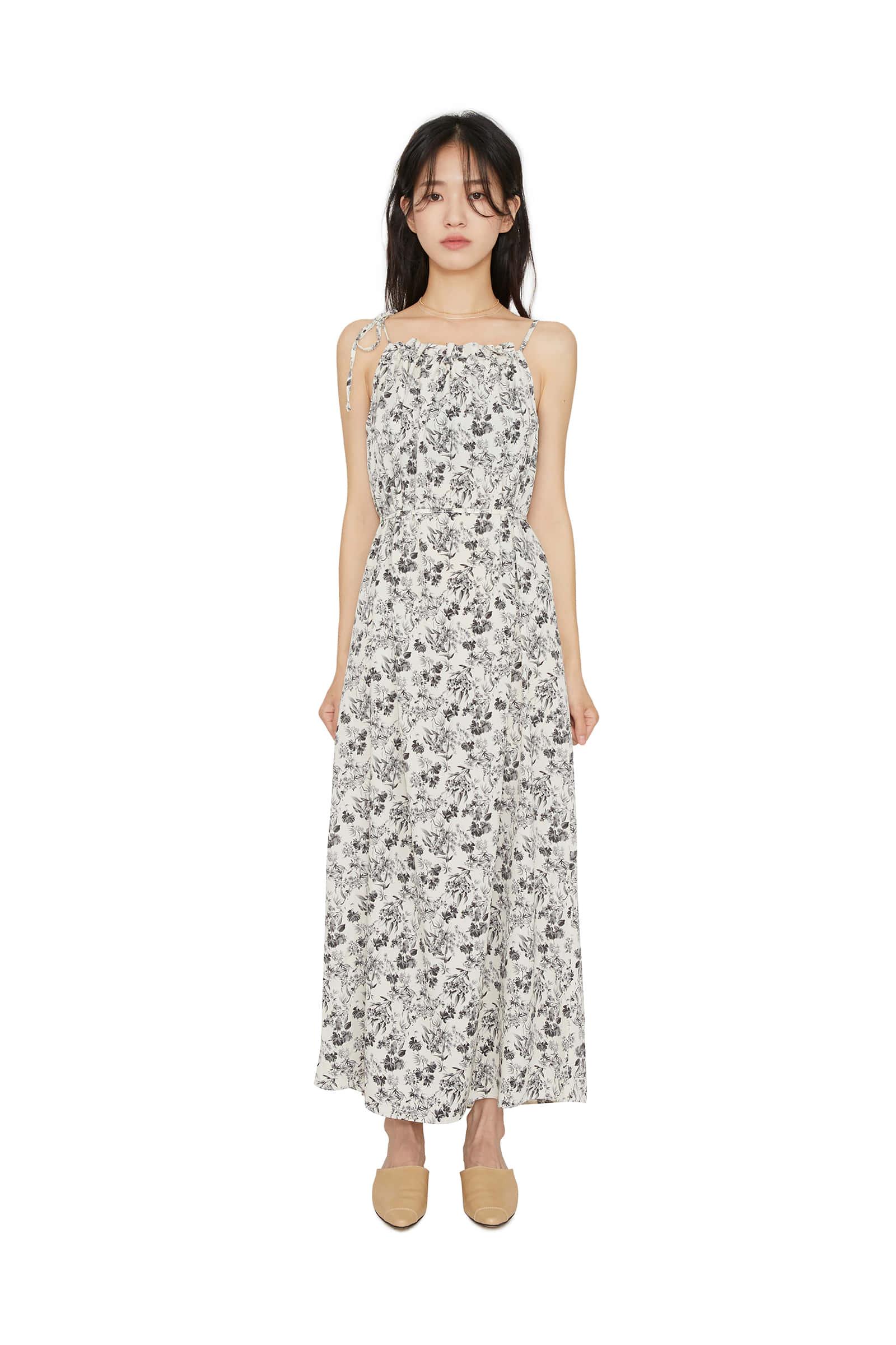 Sketch flower maxi dress