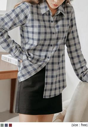 配色格紋純棉襯衫