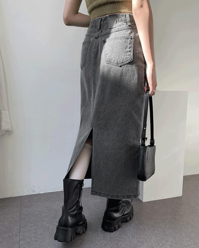 Cica Pigment Faded Denim Long Skirt