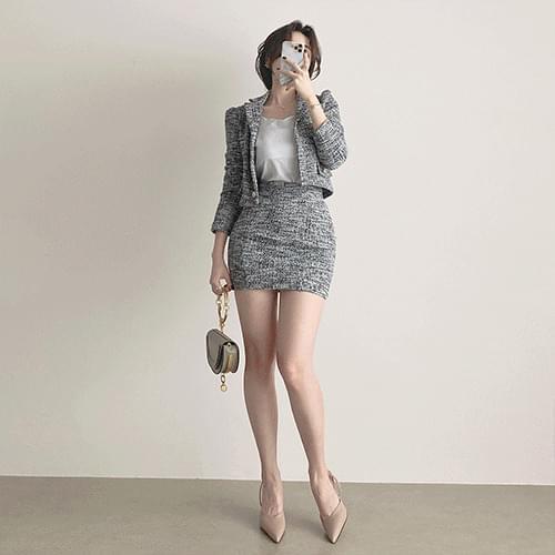 Kanadaran Tweed Pearl Spread Crop Jacket Mini Skirt Two Piece Set