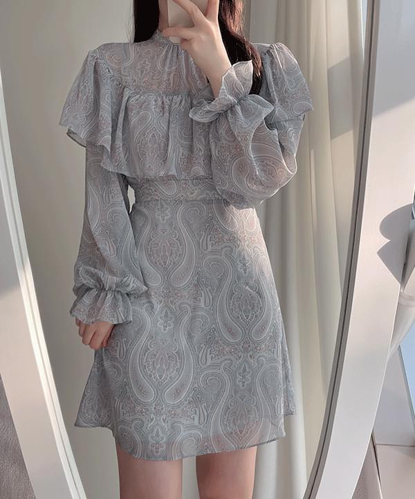 Amy Paisley Cape Dress 2color ミディワンピース