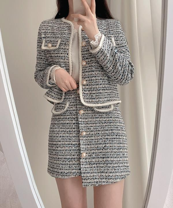 Blue Tweed Jacket + Pearl Unfooted Skirt Two Piece 2color
