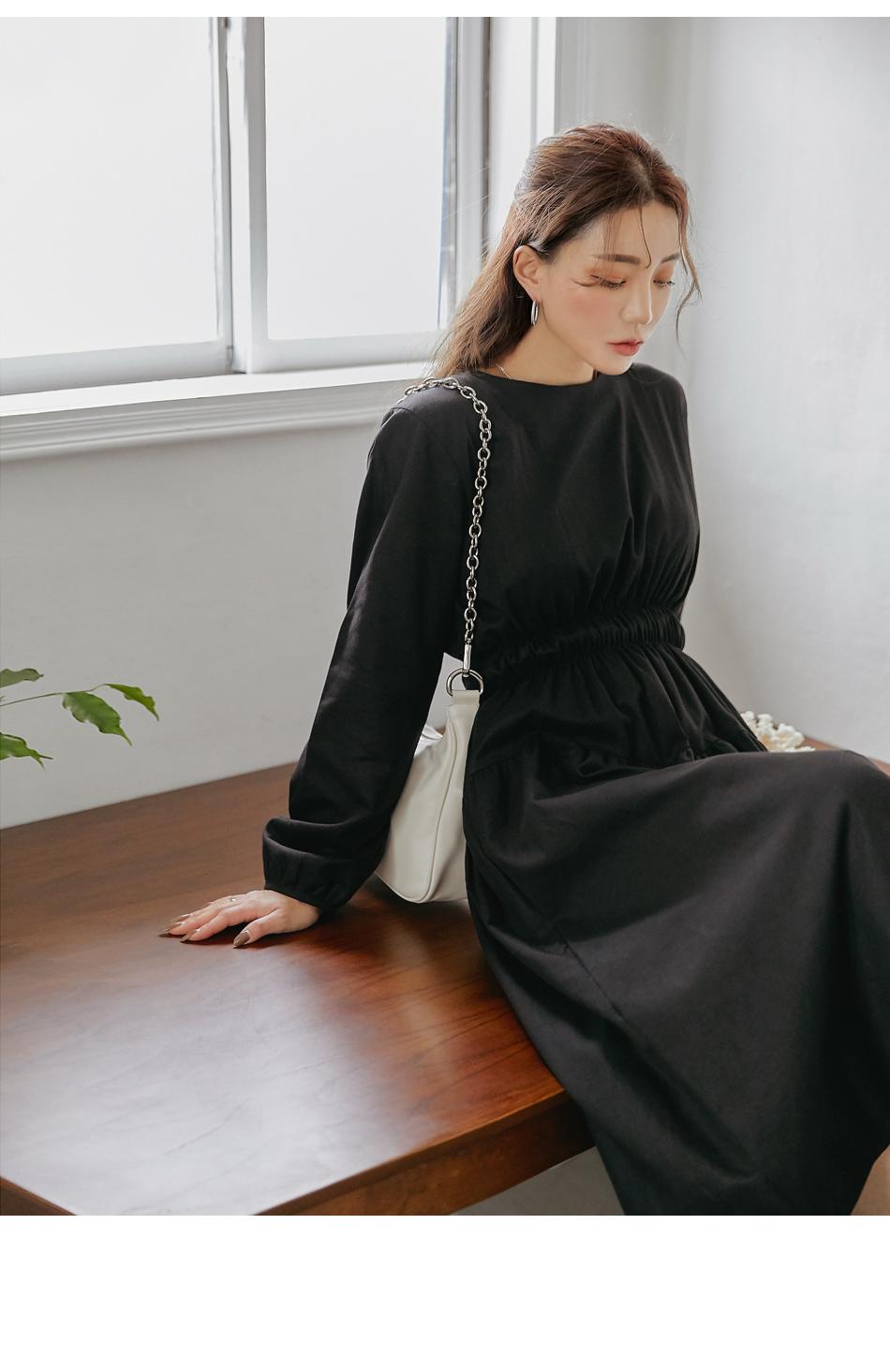 Gathered Waist Extended Sleeve Dress