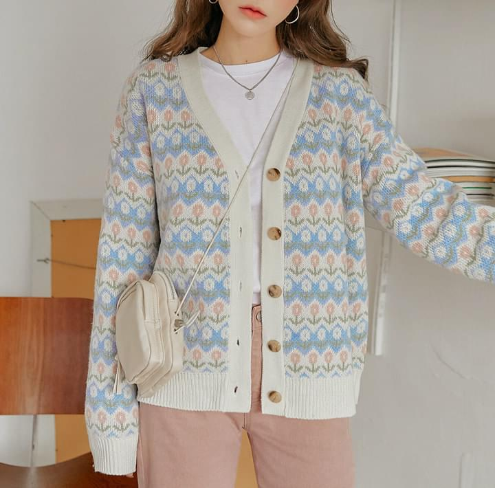 Floral Pattern Knit Cardigan (Delayed delivery)