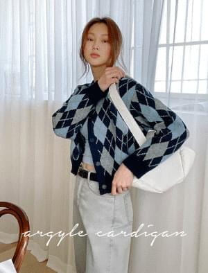 菱格紋短版開襟衫