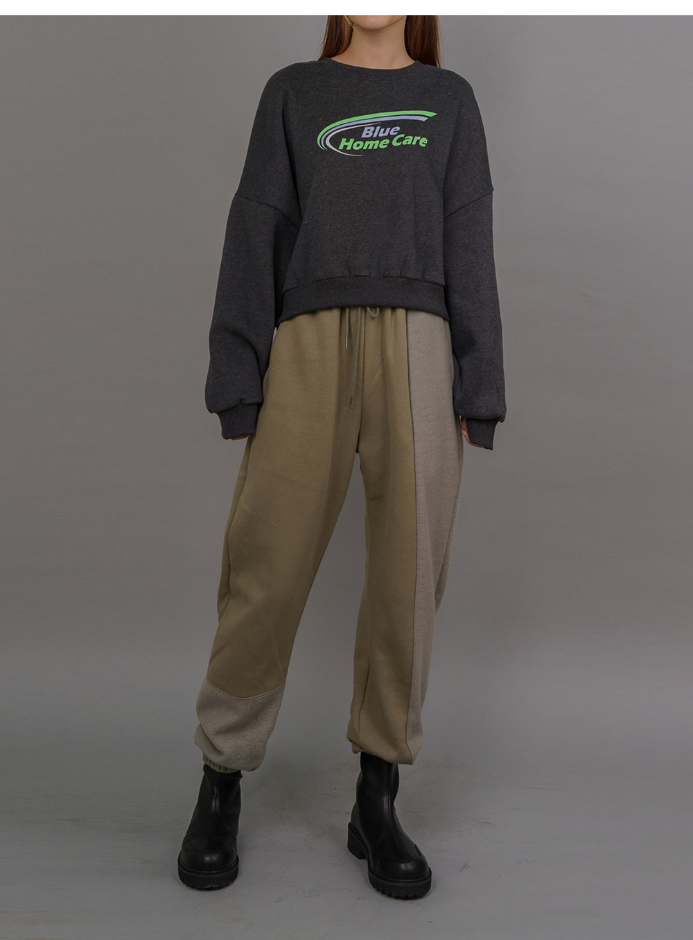 Care Printing Woolen Crop Sweatshirt