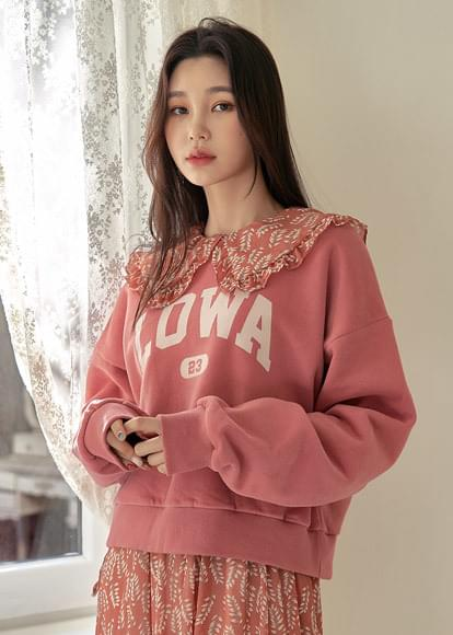 Woolen semi-crop lettering Sweatshirt