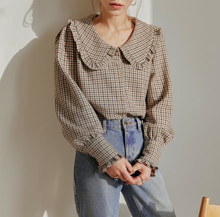 Frill Trim Puff Sleeve Check Blouse