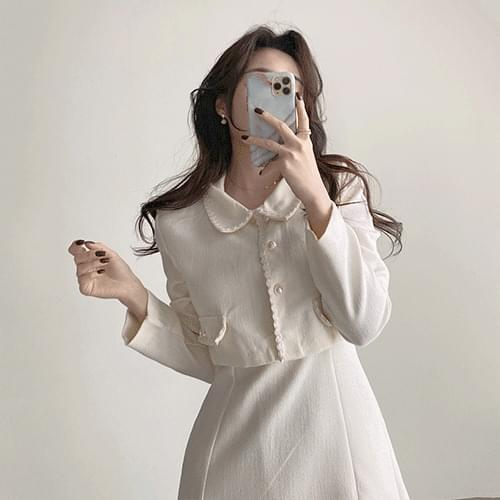Thin round collar pearl guest look tweed dress