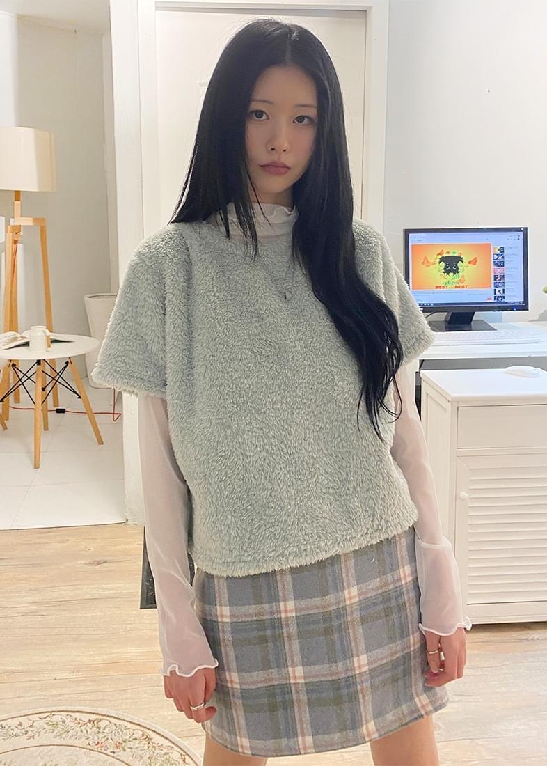 Minky fleece round short-sleeved T-shirt