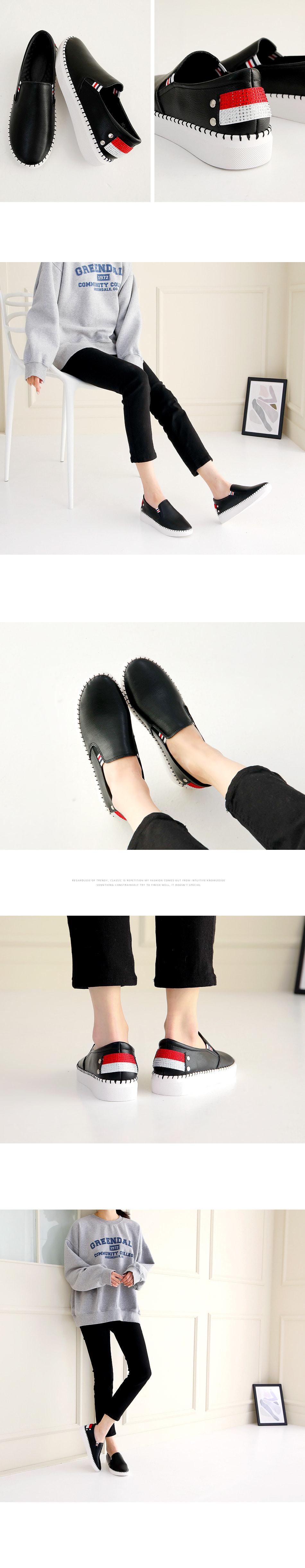Pallet leather height long heel slip-on 4cm