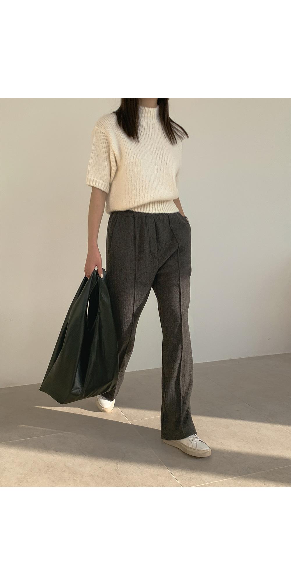 Renne half-neck short sleeve knit