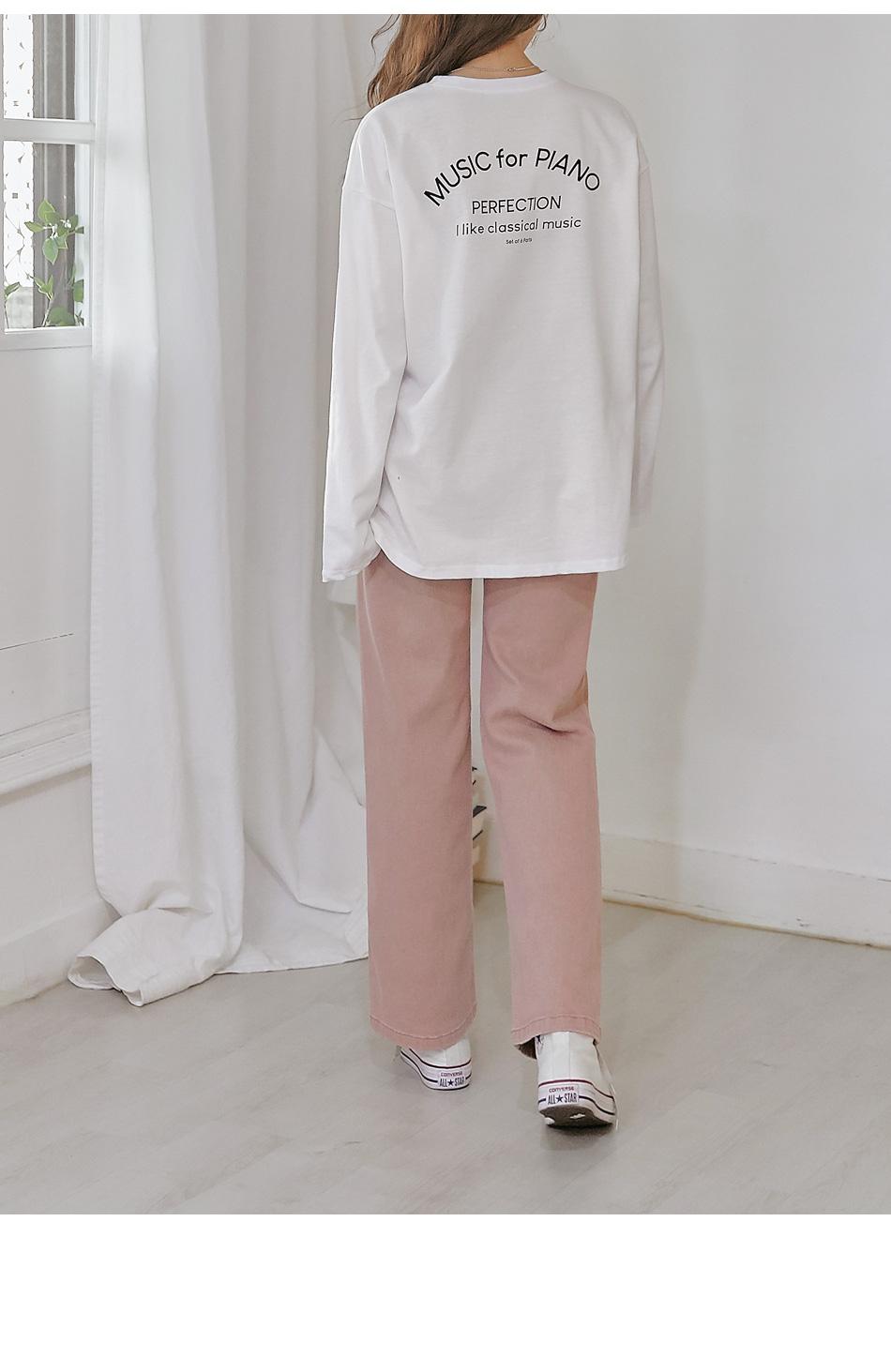 Semi-Elasticized Waist Straight Pants