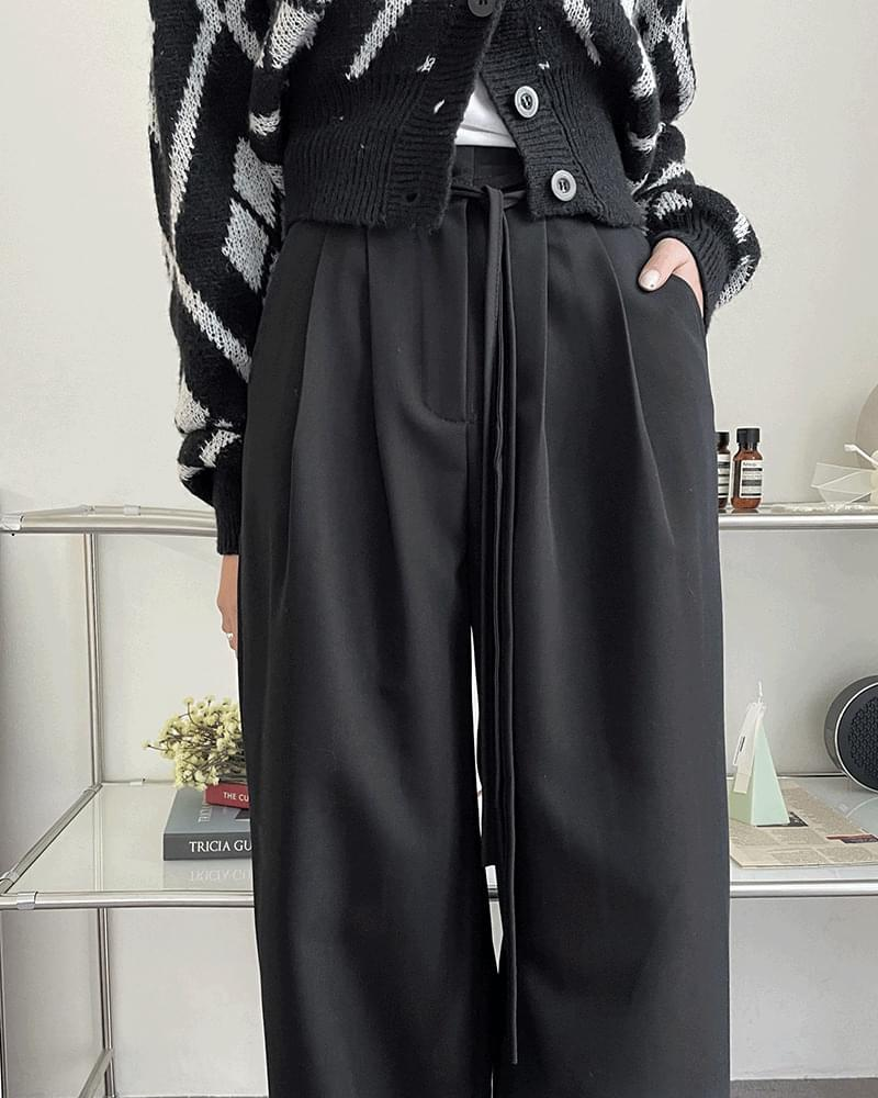 Brill Minimal String Pintuck Wide Long Slacks 長褲
