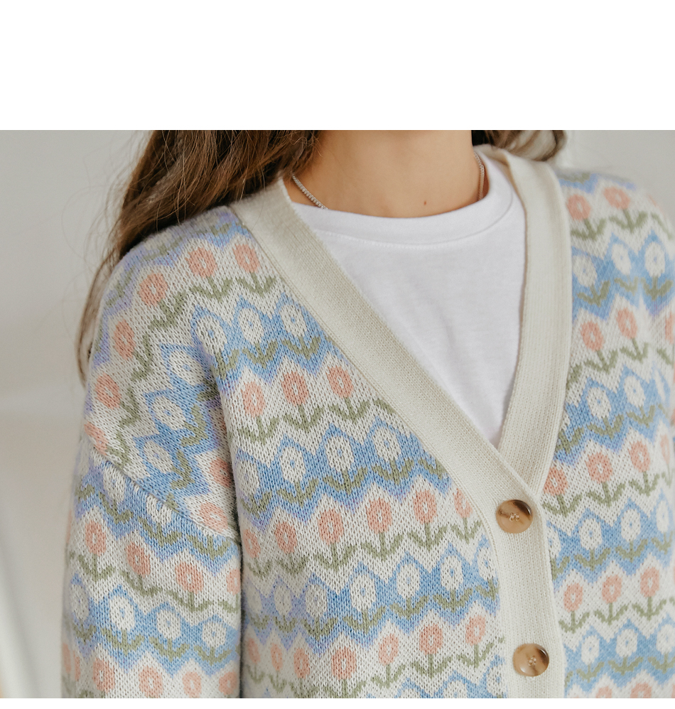Floral Pattern Knit Cardigan