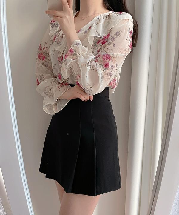 Lushine floral frill blouse 2color ブラウス
