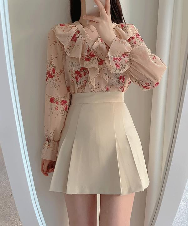Clozen pleats mini skirt 3color
