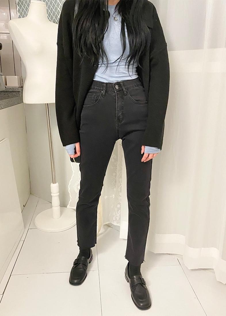 Pair banding denim skinny pants