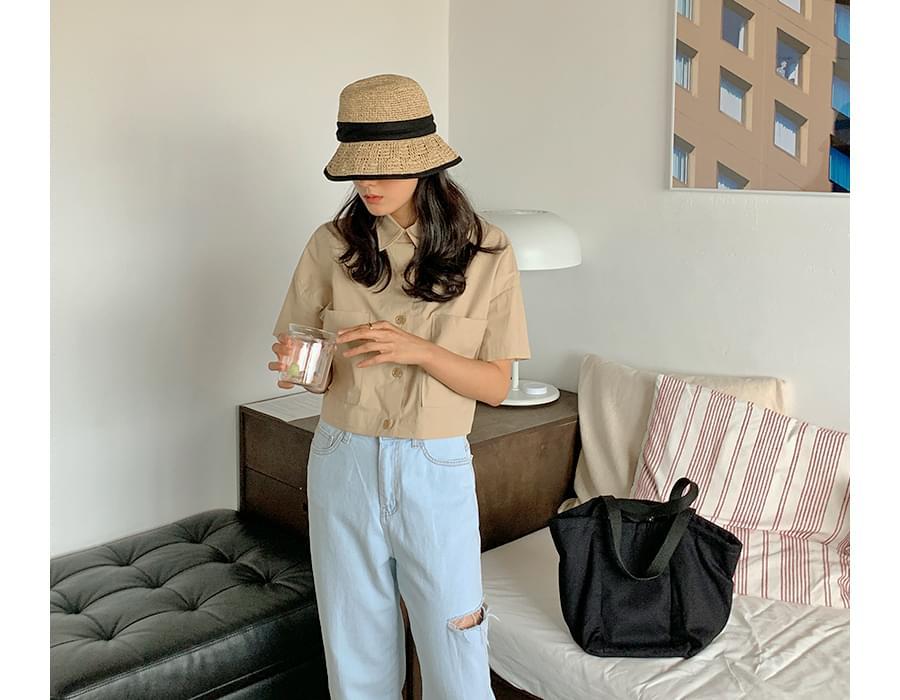 Mood-up crop banding blouse