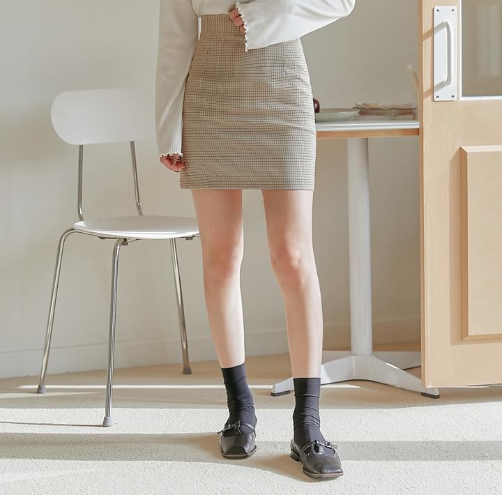 Houndstooth Check High-Rise Mini Skirt