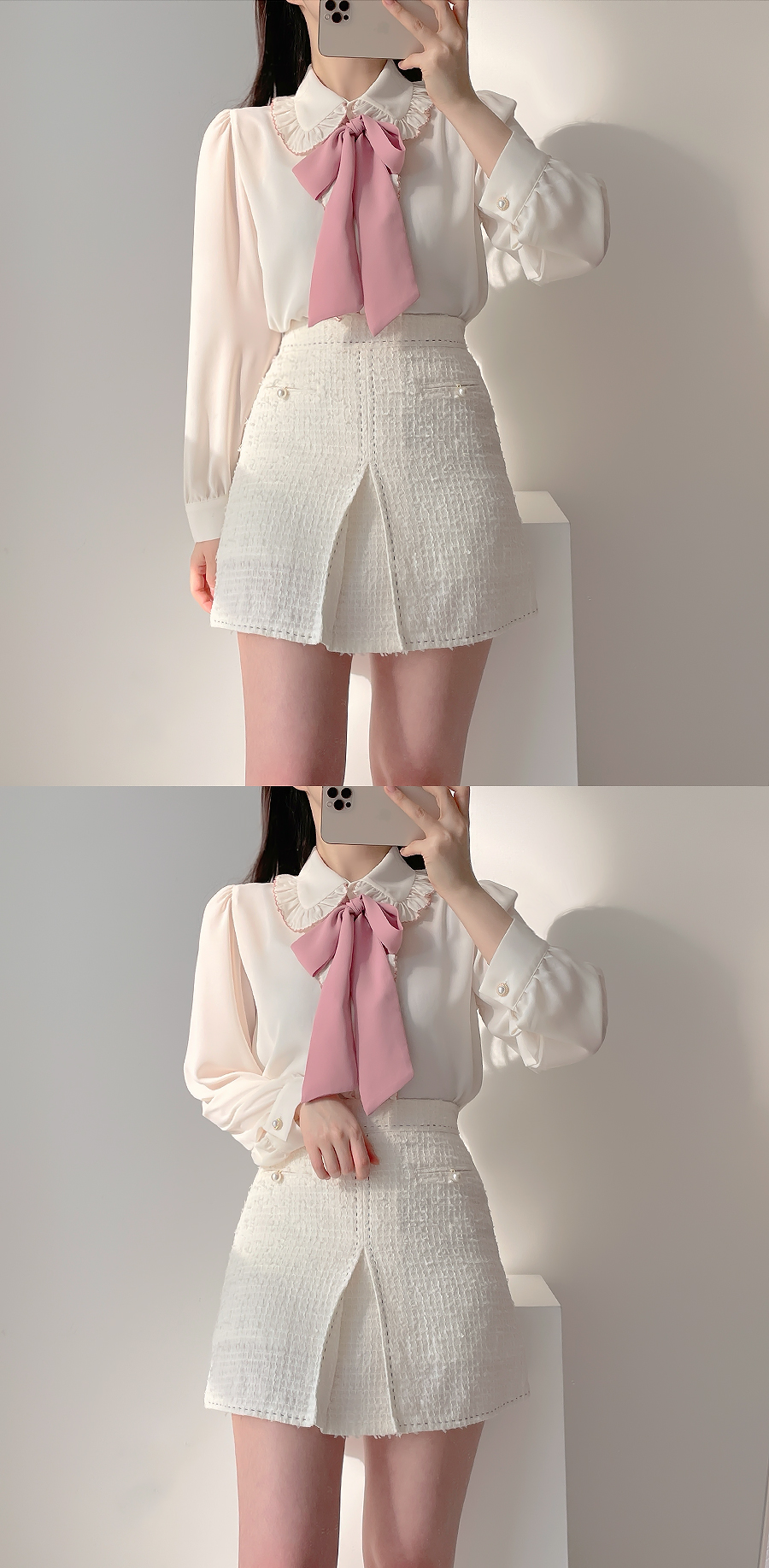 Name stitch pearl skirt pants 2color