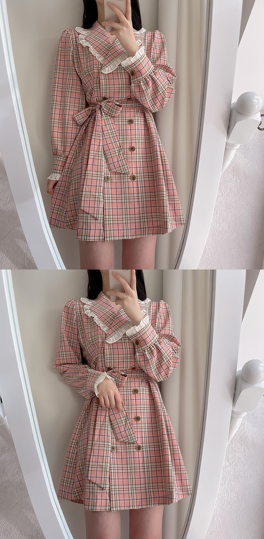 Queen Check Collar Pin Tuck Dress 2color