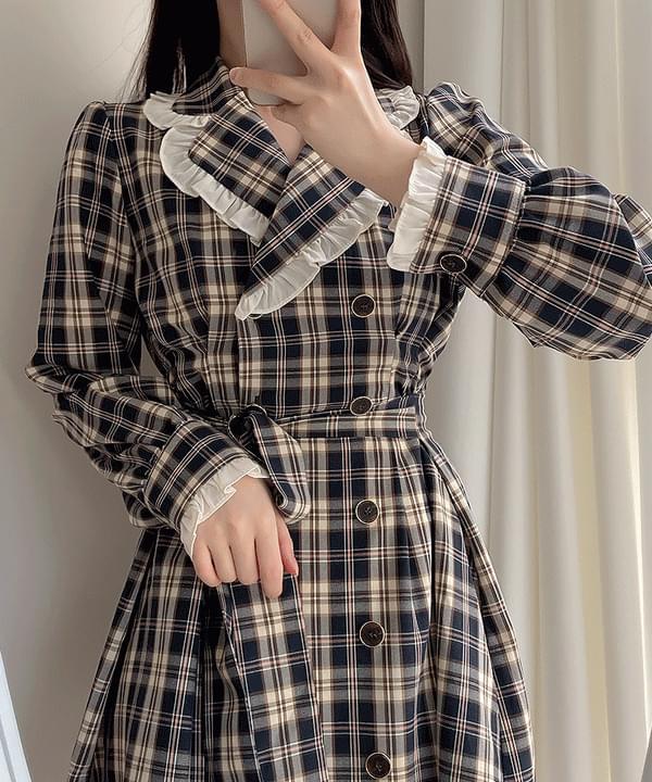 Queen Check Collar Pin Tuck Dress 2color ミディワンピース