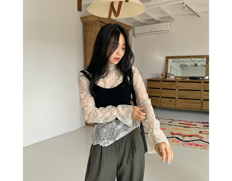 Lace embroidery see-through blouse