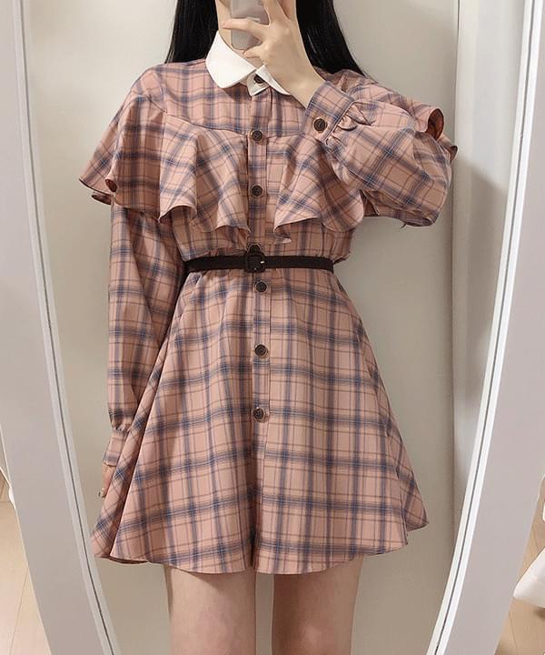 Elin Cape Check Dress 2color