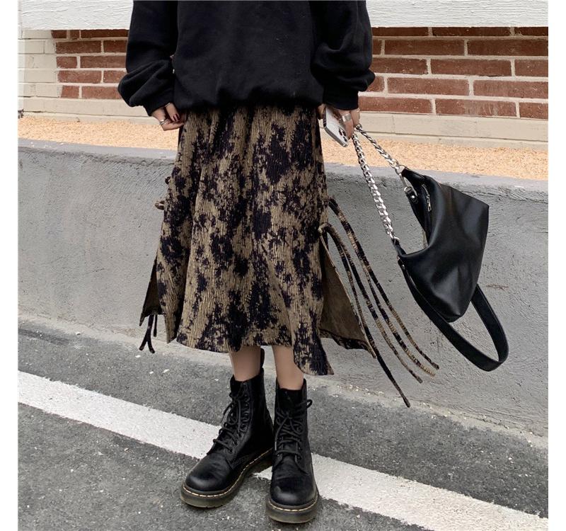 sk3495 crew tie-dye split skirt