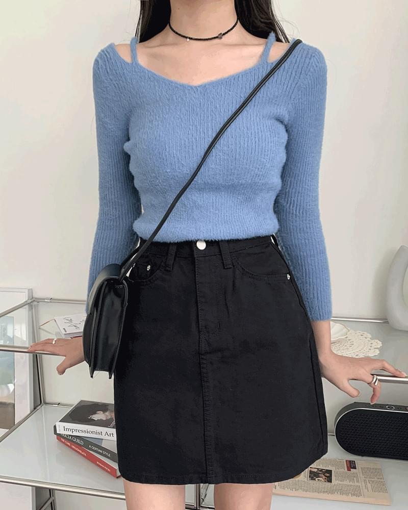 Shring Angora Strap Off Shoulder V Neck Knitwear 針織衫