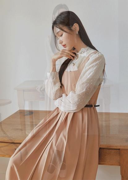 Square Neck Pleat Dress+ Belt SET